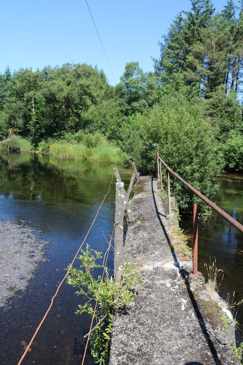 Blue Sky Broken Bridge Handrail  Ireland Macroom Nature Rickety River River Lee Scenic View Summer Trees And Sky