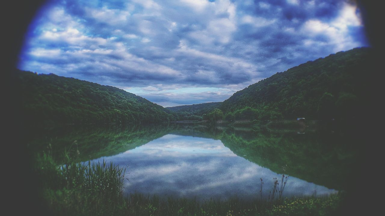 Nature Reflection Lake Cloud - Sky Water Scenics Dramatic Sky Sky Nature Landscape Beauty In Nature Mountain Outdoors No People Tree Grass Astronomy Lens Pchelina Razgrad HDR Hdr Edit Tranquility Night