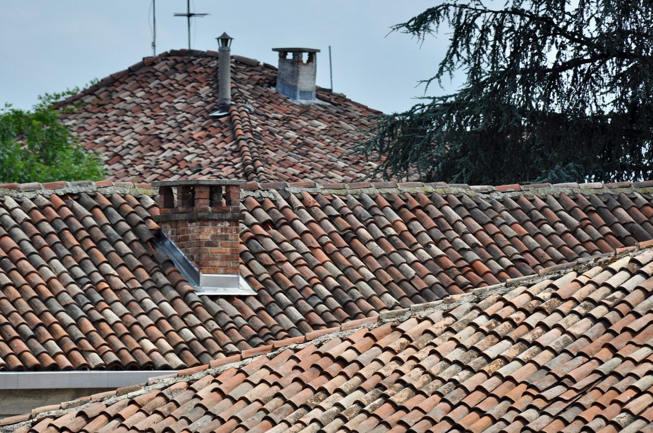 roof, tiled roof, architecture, roof tile, built structure, building exterior, house, day, town, outdoors, sky, no people, tree, clear sky