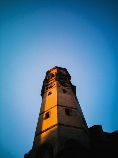 Architecture Tower Building Exterior History Built Structure Low Angle View No People Clock Tower Travel Destinations Blue Clock Sunset Day Sky Outdoors Clear Sky Innovation Clock Face Rahim RahimNoel NY NYC New York Beauty In Nature