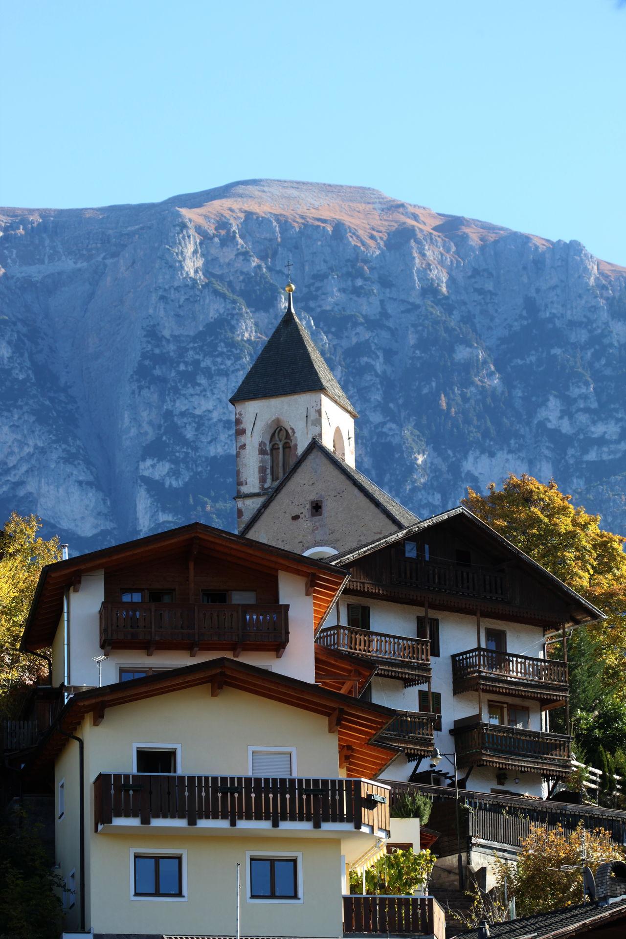 Balconies Blue Sky Church Dolomites Fiè Allo Sciliar Houses Italy Mountain Südtirol Trees Windows