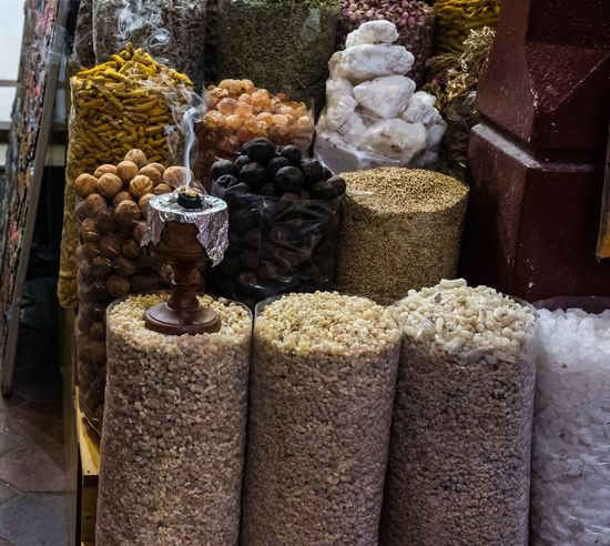 Out and about in the Dubai Souks Arabian Arabian Food Spices Souks Variation For Sale Choice Freshness Indoors  Close-up