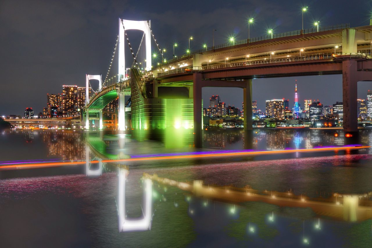 Pivotal Ideas Colour Of Life Night View Tokyo Night Night Lights Illuminated Illumination Water Reflections Bridge Light Trails Light Trail Battle Of The Cities The Color Of Technology