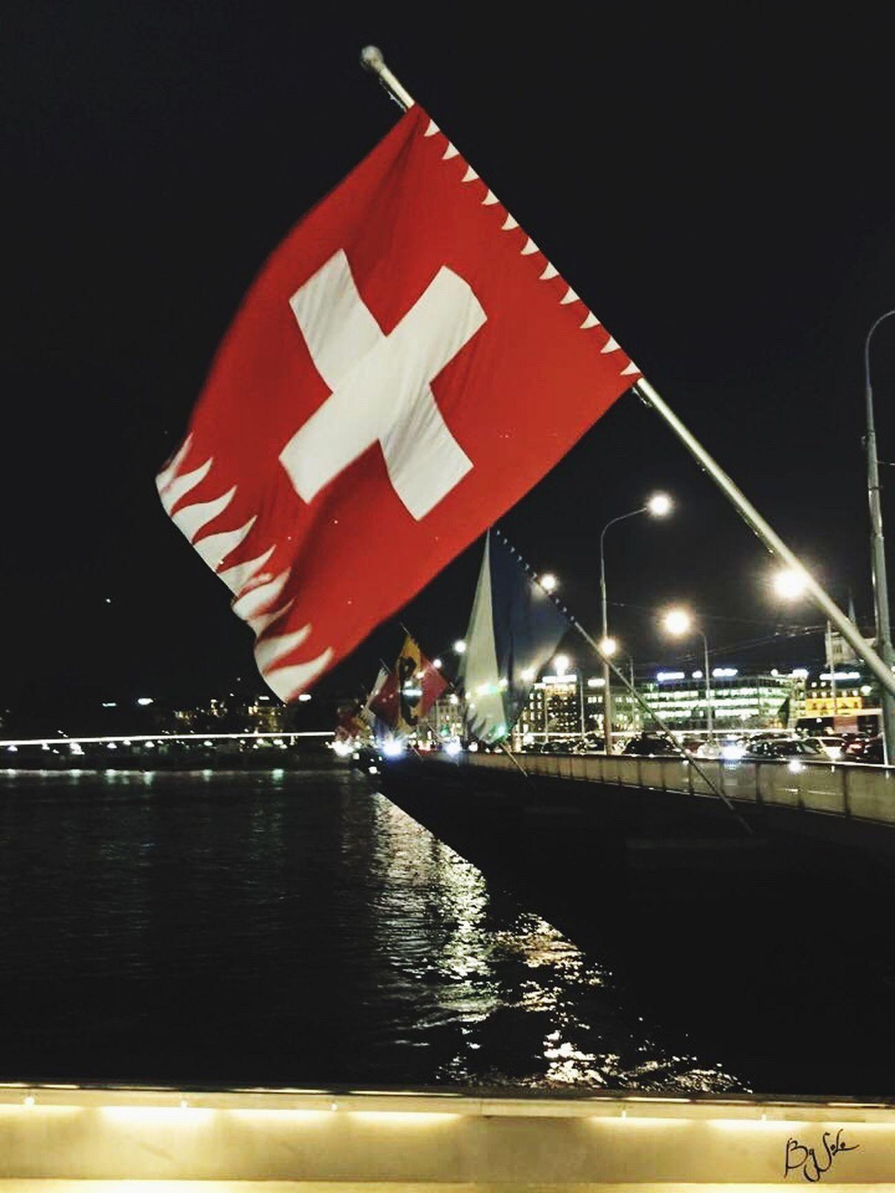 Switzerland Flag Water Red Patriotism City Lac Léman Geneve Night