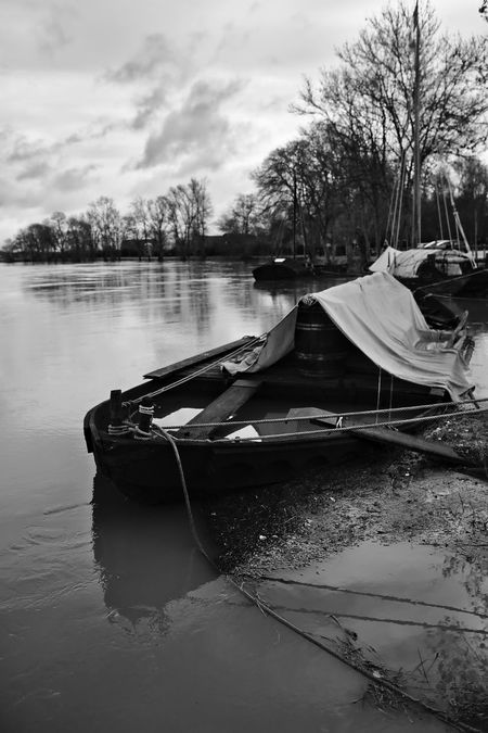 Boat Ligthers Mode Of Transport Reflection Tranquility Water Waterfront Weather Winter