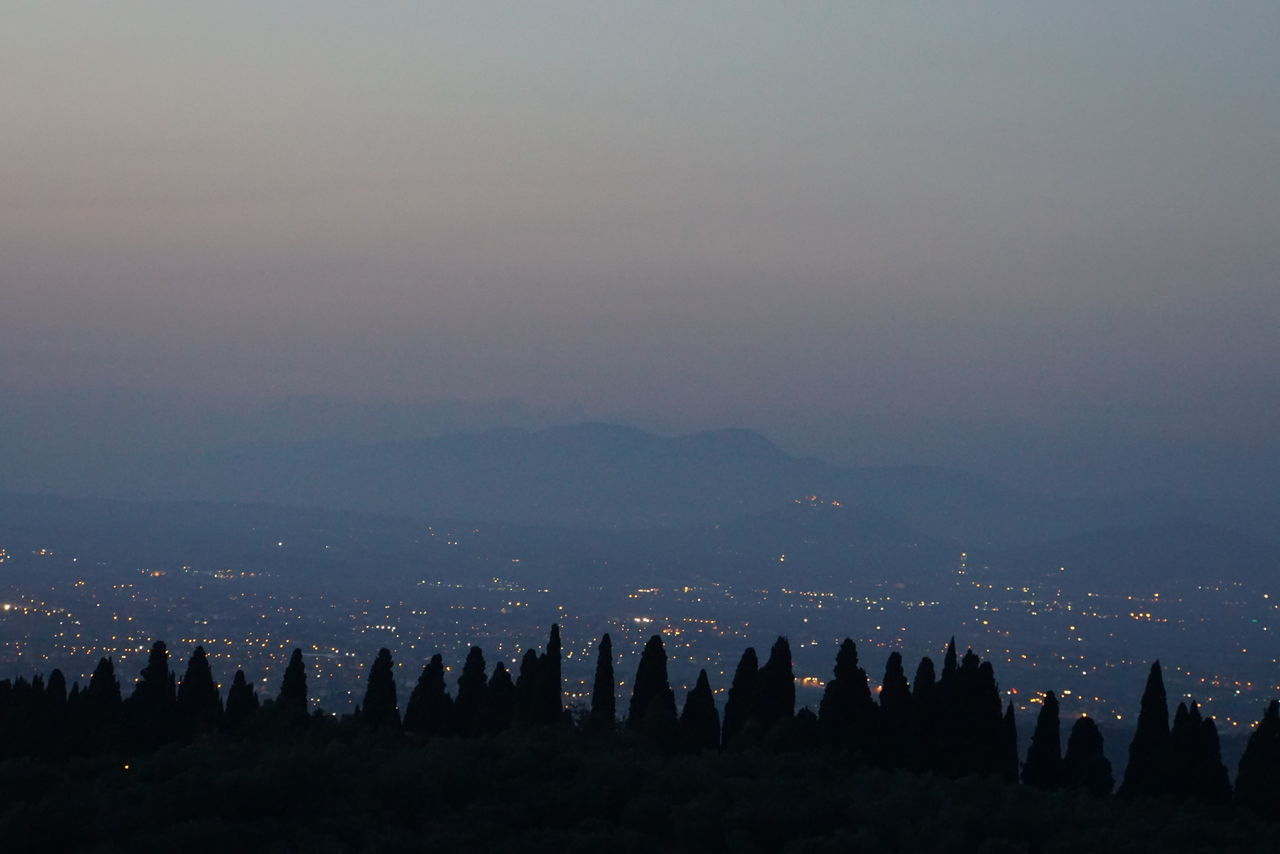 view from Tivoli towards city of Rome Beauty In Nature Cloud - Sky Dusk Golden Hour Growth Lansscape Mountain Mountain Range Nature No People Non-urban Scene Panorama Rome Scenics Sky Sunset Tivoli Tranquil Scene Tranquility Trees