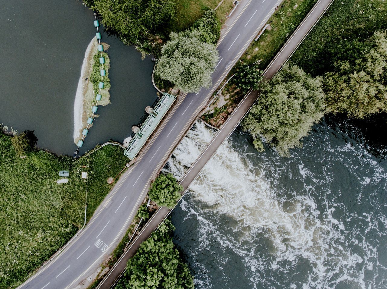 Water Dam Tree Water High Angle View Bridge - Man Made Structure Plant Nature No People Outdoors Day Urban Urban Geometry Road Dronephotography Drone  Phantom 4 Dji Aerial Aerial Photography Landscape Epic Tranquility The City Light