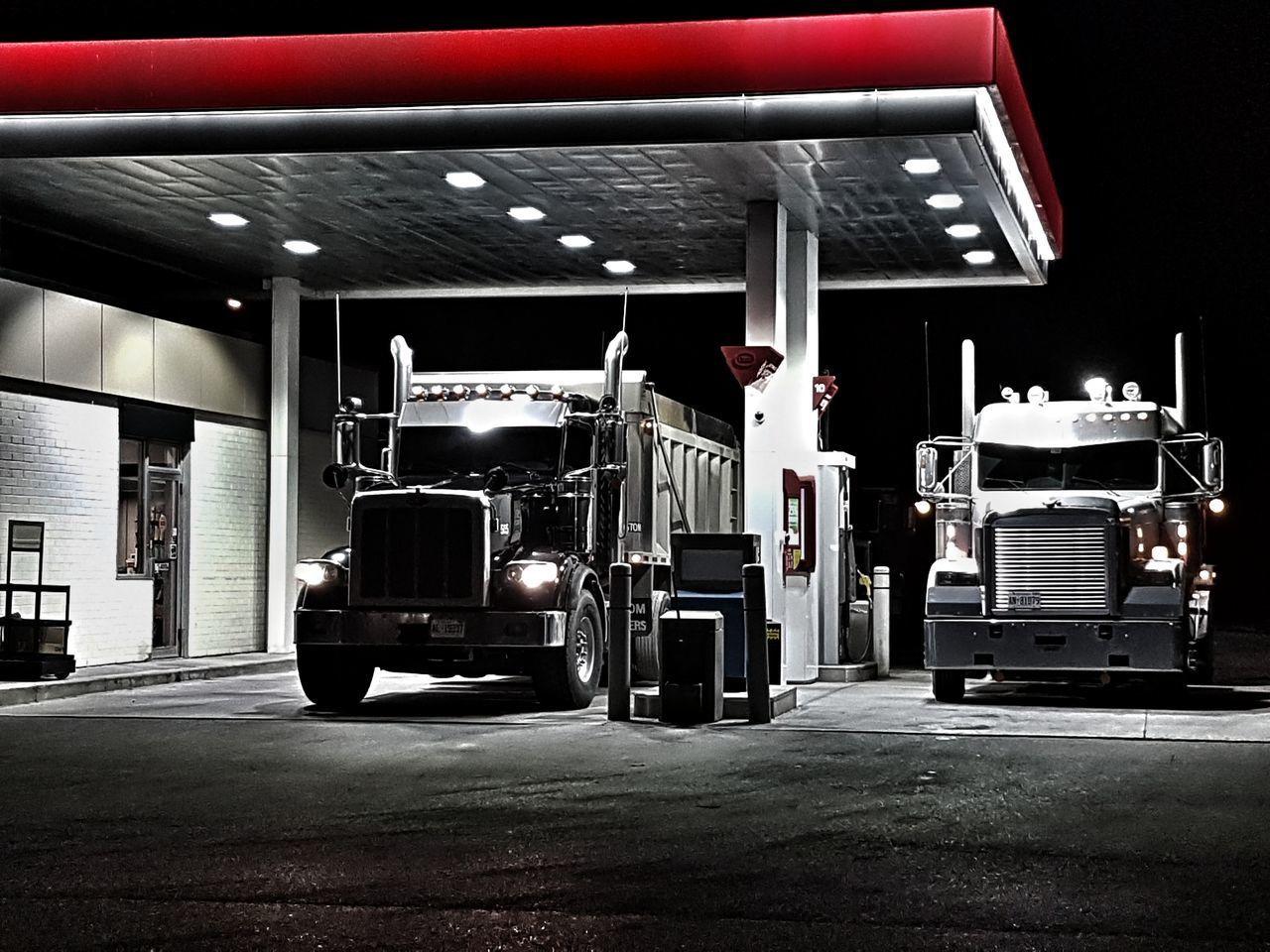 401 Alone Gas Station At Night Toronto Working Architecture City Dump Truck Hiway Hiway 401 Illuminated Night Refueling Transportation Trucks