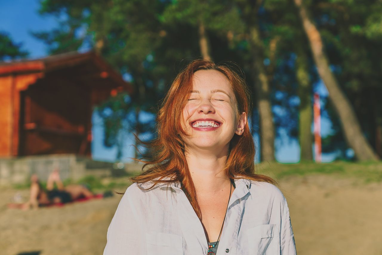 EyeEm Selects Only Women One Woman Only Happiness One Person People Headshot Eyes Closed  Fun Cheerful Adult Adults Only Outdoors One Young Woman Only Front View Human Body Part Smiling Enjoyment Beauty Young Adult Beautiful Woman