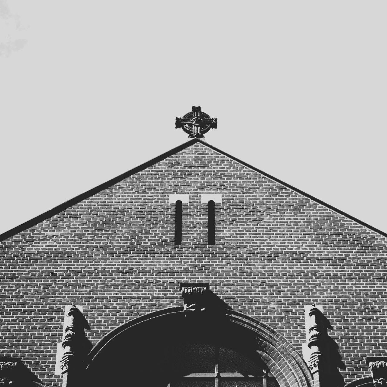 High section of church against clear sky