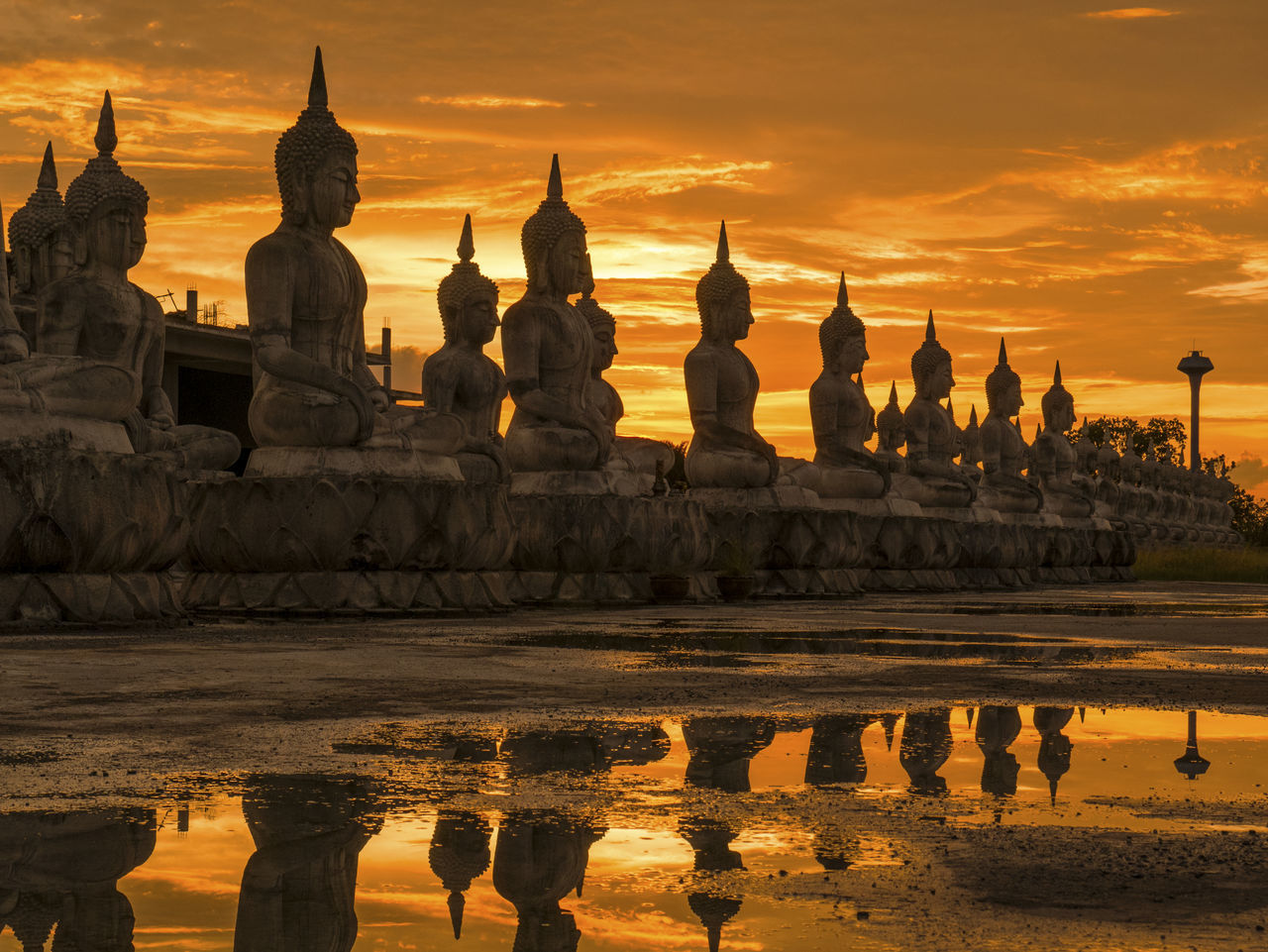Ancient Ancient Civilization Architecture Buddha Building Exterior Built Structure Cloud - Sky Day History Nakhon Si Thammarat Nature No People Orange Color Outdoors Place Of Worship Reflection Religion Sculpture Sky Spirituality Statue Sunset Travel Destinations Water