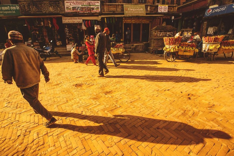Bhaktapur Street,Nepal Real People Built Structure Architecture Men Lifestyles Rear View Large Group Of People Women Day Building Exterior Outdoors Religion