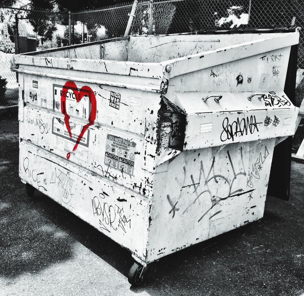 """Urban Love"" Dumpster Dumpsters Dumpsterdiving Black & White Colored Photo Art Photoart Urban Urban Landscape Urbanphotography"