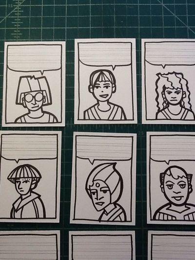Now I have to make them say something. Art Sketchcard Drawing