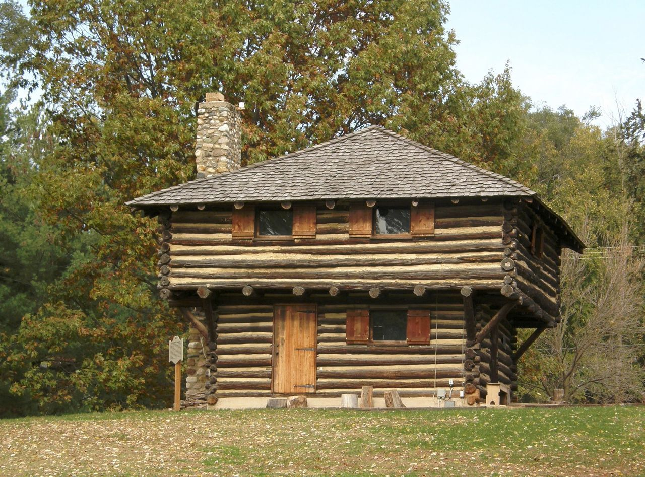 Fort Ouiatenon Architecture Building Exterior Built Structure Clear Sky Day Exterior Fort French Grass Growth Hut Indiana Logs No People Old Outdoors Palisaded Fort Roof Roof Tile Sky Tree Wood - Material