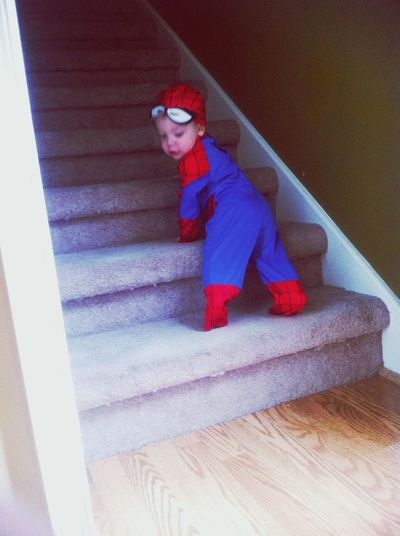 spiderman!!.. only bc we couldnt find a robin in his size.