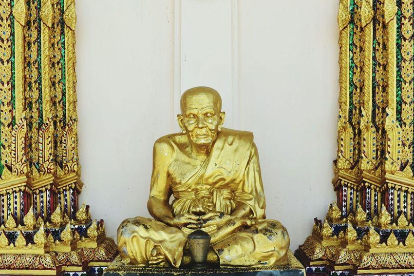Monk at Wat Prae Laem Religion Statue Spirituality Travel Destinations Thailand Koh Samui Buddhism Travel Arts Culture And Entertainment Place Of Worship Sitting Gold Thailand Trip ThailandOnly