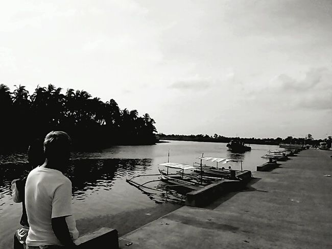 black and white, river view , boatssd Black And