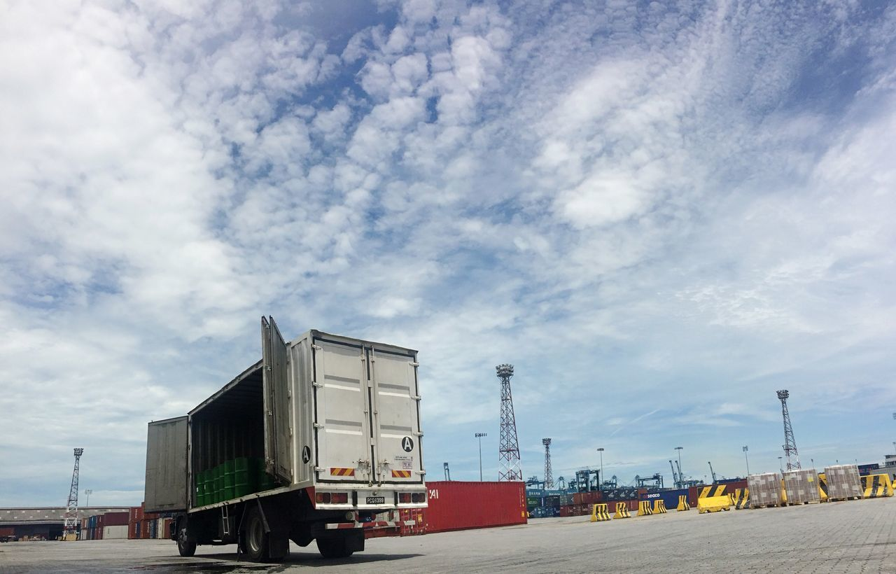 northport, port klang Port Transportation Land Vehicle Container Cloud - Sky Sky Cloud Freight Transportation Vehicle Semi-truck Lorry Port Klang Yard Wharf Transportation Logistics Import Export Import Export Shipping