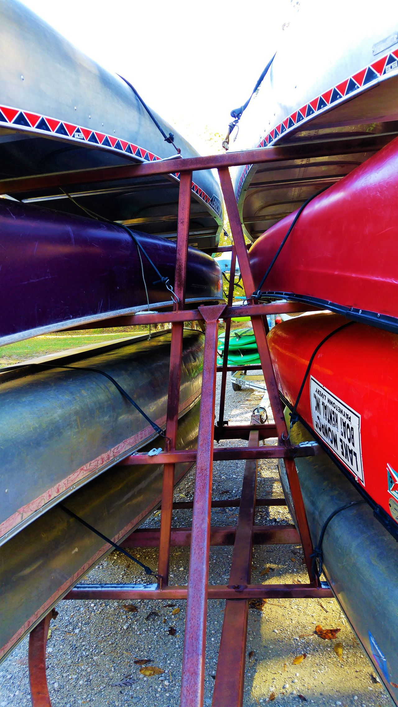 Boats Canoes Day Metal Metallic Structure Multi Colored No People Outdoors Purple Red Silver  Vibrant Color Water Sports