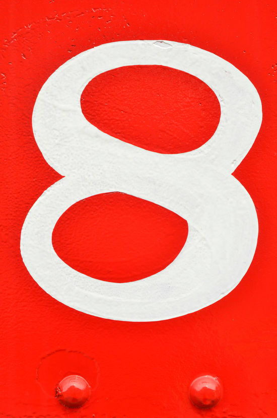 vintage hand-painted number eight on red painted metal with rivets Art Deco Close-up Day Graphic Design Hand Painted Hand Painted Sign Handmade Metal Mid Century Mid Century Modern No People Number Number 8 Number Eight Red Red And White Rivets Vintage Style White Color