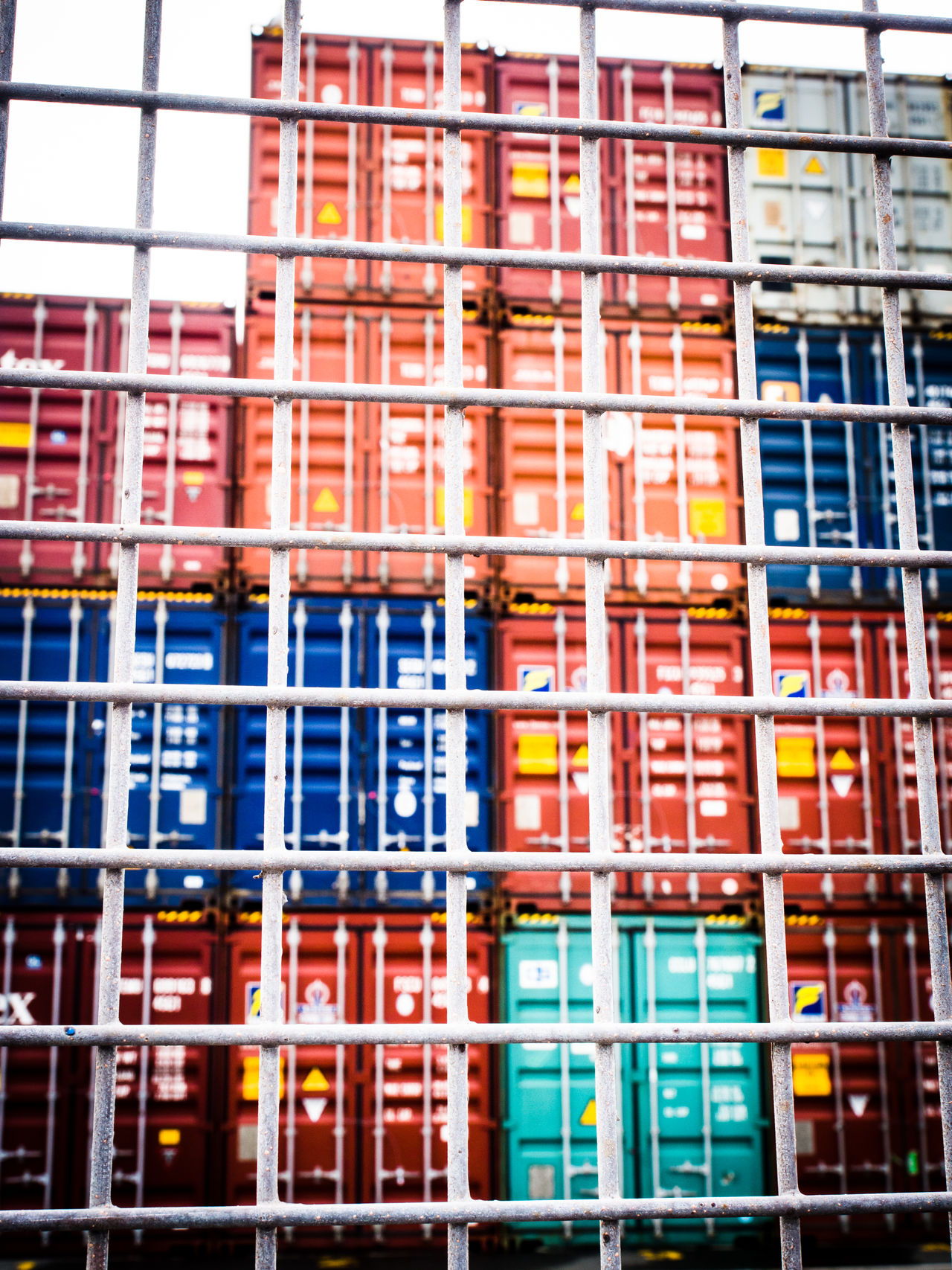 Shipping containers at port Containers Fence Freight Transportation Metal Fence Port Shipping  Shipping Containers Shipping Docks Stacked