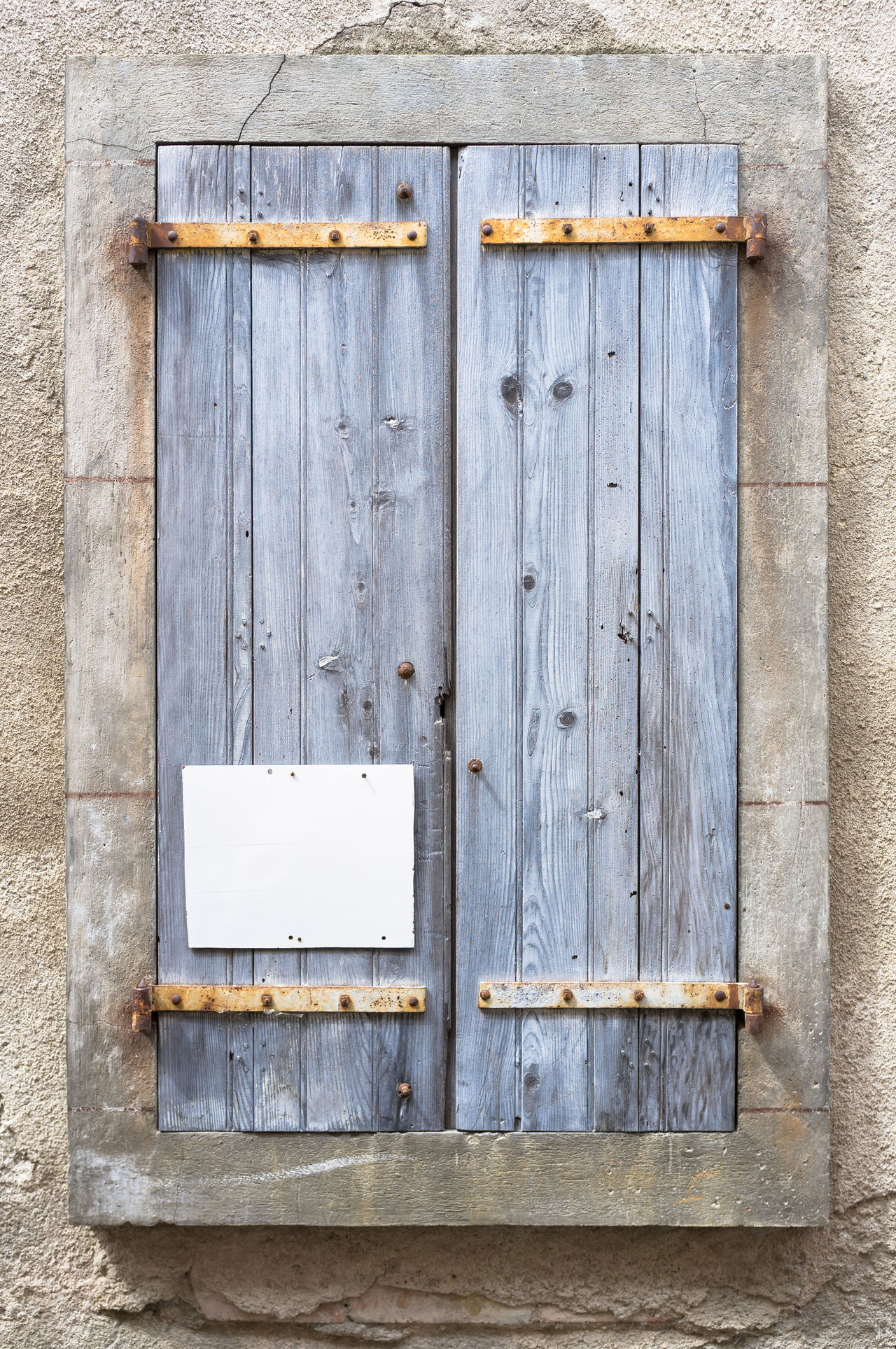 Architecture Close-up Closed Communication Day Door Languedoc Lapradelle-Puilaurence No People Outdoors Southern France Urban Decay Urban Fragments Urban Geometry Urban Landscape Urbanphotography Wood - Material Shutters Blue Shutters Old Shutters Rustic Style Rustic Building Exterior Blue