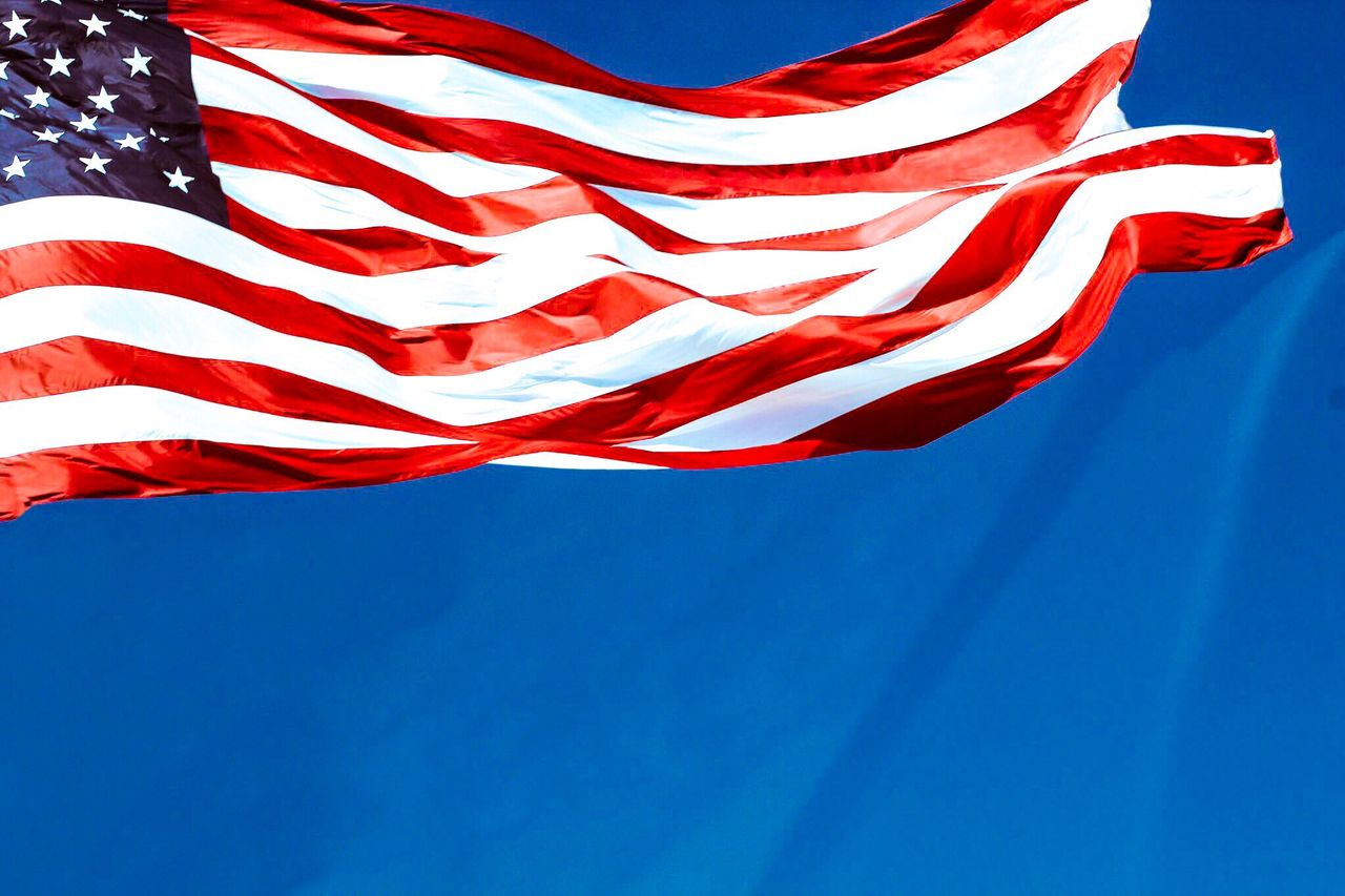 flag, patriotism, striped, red, blue, wind, no people, clear sky, textile, colored background, day, sky, stars and stripes, outdoors, close-up