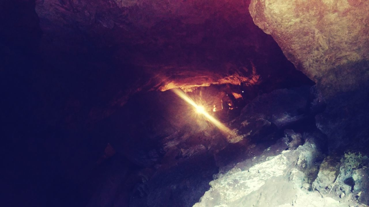 Light at the tunnel, cave, Indoors  Cave Nature Geology Illuminated Scenics EyeEmNewHere High Angle View Vacations Trekkingpic Flying High