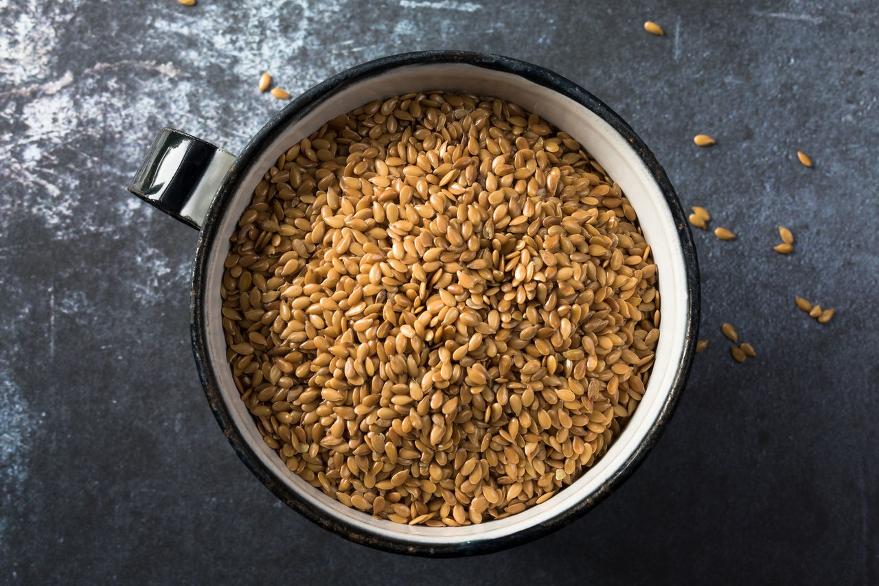 A cup of flaxseed Close Up Culinary Cup Directly Above Flax Flax Seeds Flaxseed Food Ingredient Isolated Linseed
