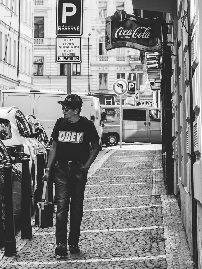 Black & White Casual Clothing City Life Eyeem Streetphotography OBEY People Of Prague People Photography Prague Street Photography Streetphoto_bw Streetphotography The Way Forward Walking Down The Street