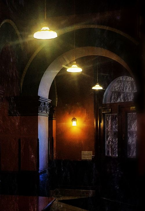 Arch Illuminated Indoors  No People Architecture Haunting  Retro Style Indoors  Antique City Hall Granite Red Granite Texas History Texaslife Texas Photographer Travelphotography Waxahachie, TX WAXAHACHIE Politics And Government