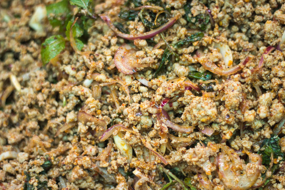 Close-up Day Food Fullframe Herb Hot Local Mint Leaves Pork Ready To Eat Shallots Spicey Thaifood Thailand