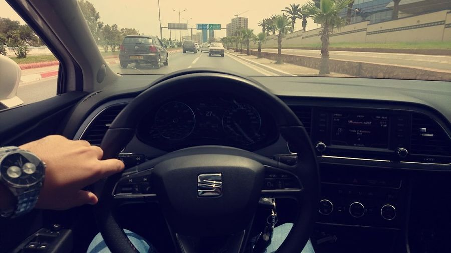 Seat Leon Vehicle Interior Car Interior Car Dashboard Steering Wheel Oran Algeria Algeria Photography VivaAlgéria<3 Transportation Windshield Human Hand Human Body Part Speedometer Day Land Vehicle One Person Indoors  People Only Men Gauge Close-up One Man Only Adult