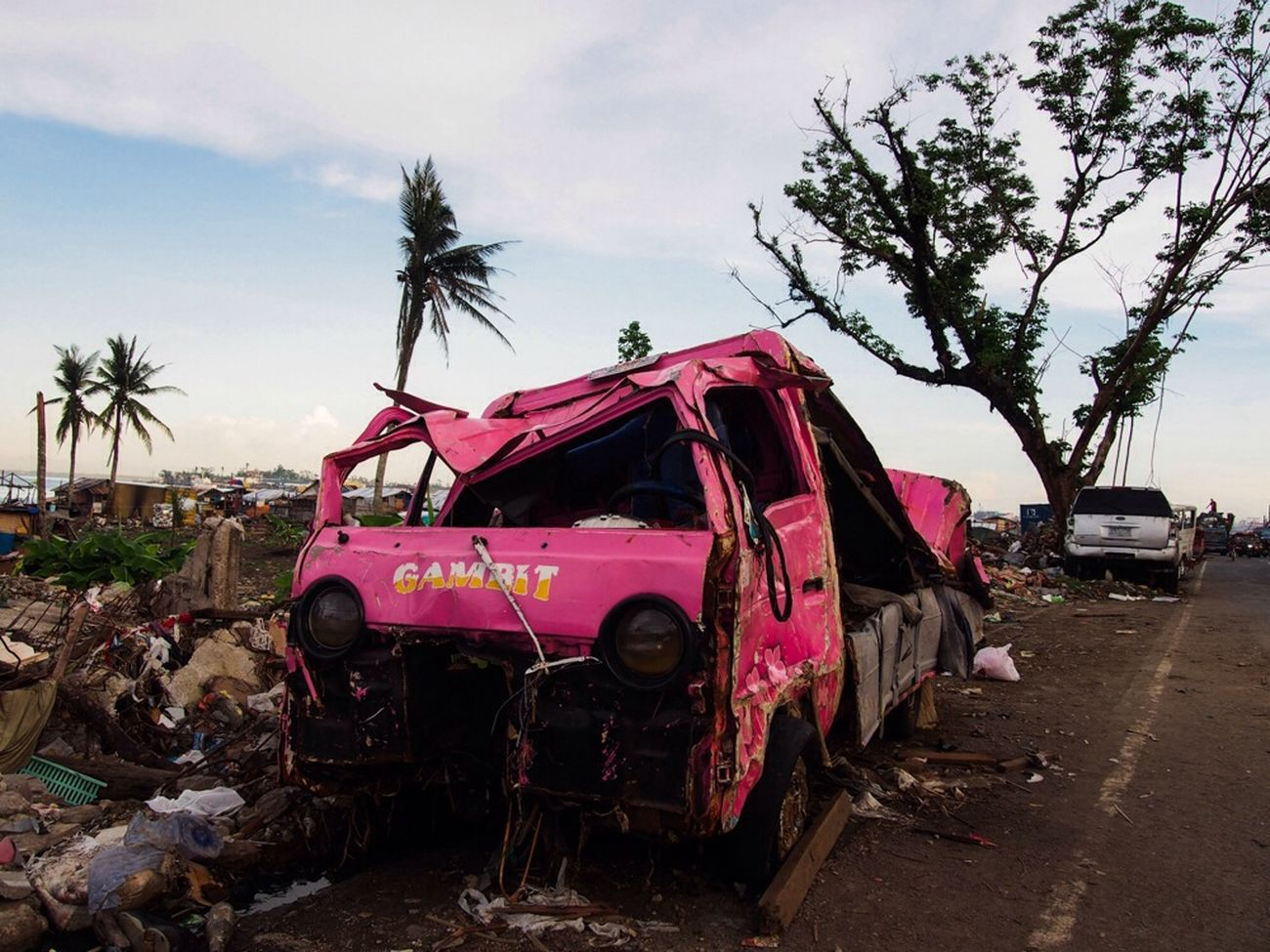 Jeepney destroyed by Typhoon Haiyan in Tacloban. Philippines