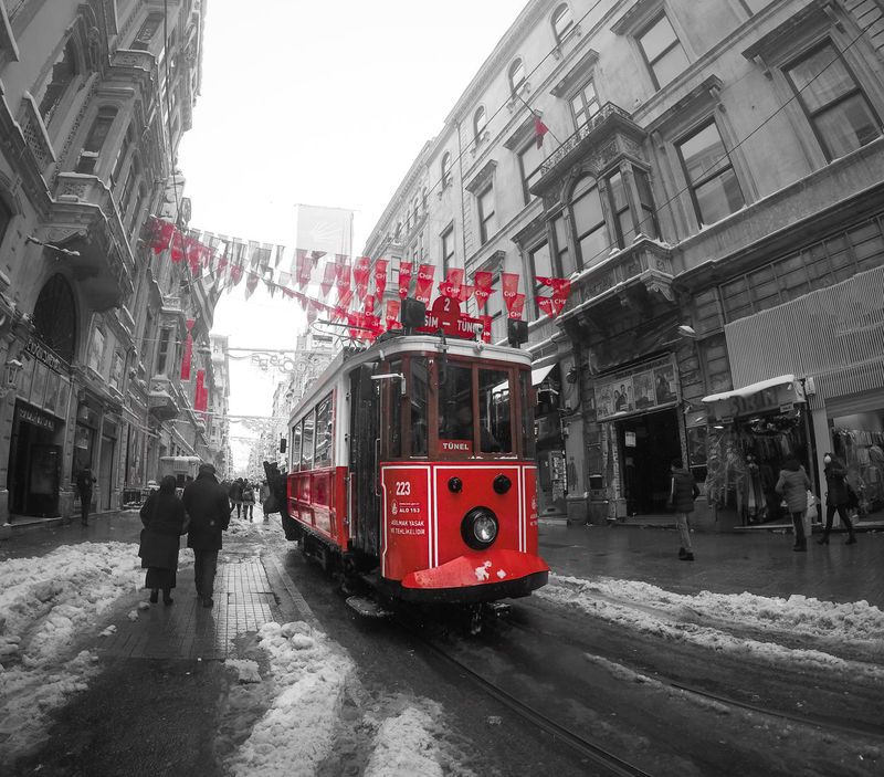 -- İstiklal Caddesi Tram -- Watch Out, The Tram Is Coming ! -- Beyoğlu Black And White Street Photography City Street From Where I Stand Historic Tram Istanbul City Istiklal Caddesi Istiklalcaddesitram One Colour Outdoors Red Colour Snowing Street Life Street Life Photos Street Scene Taksim Square Taksim Tramvayı Traditional Tram Tram Istanbul Tramvay Transportation Turkeyphotooftheday Turkish Tradition Tünel Square Winter Street