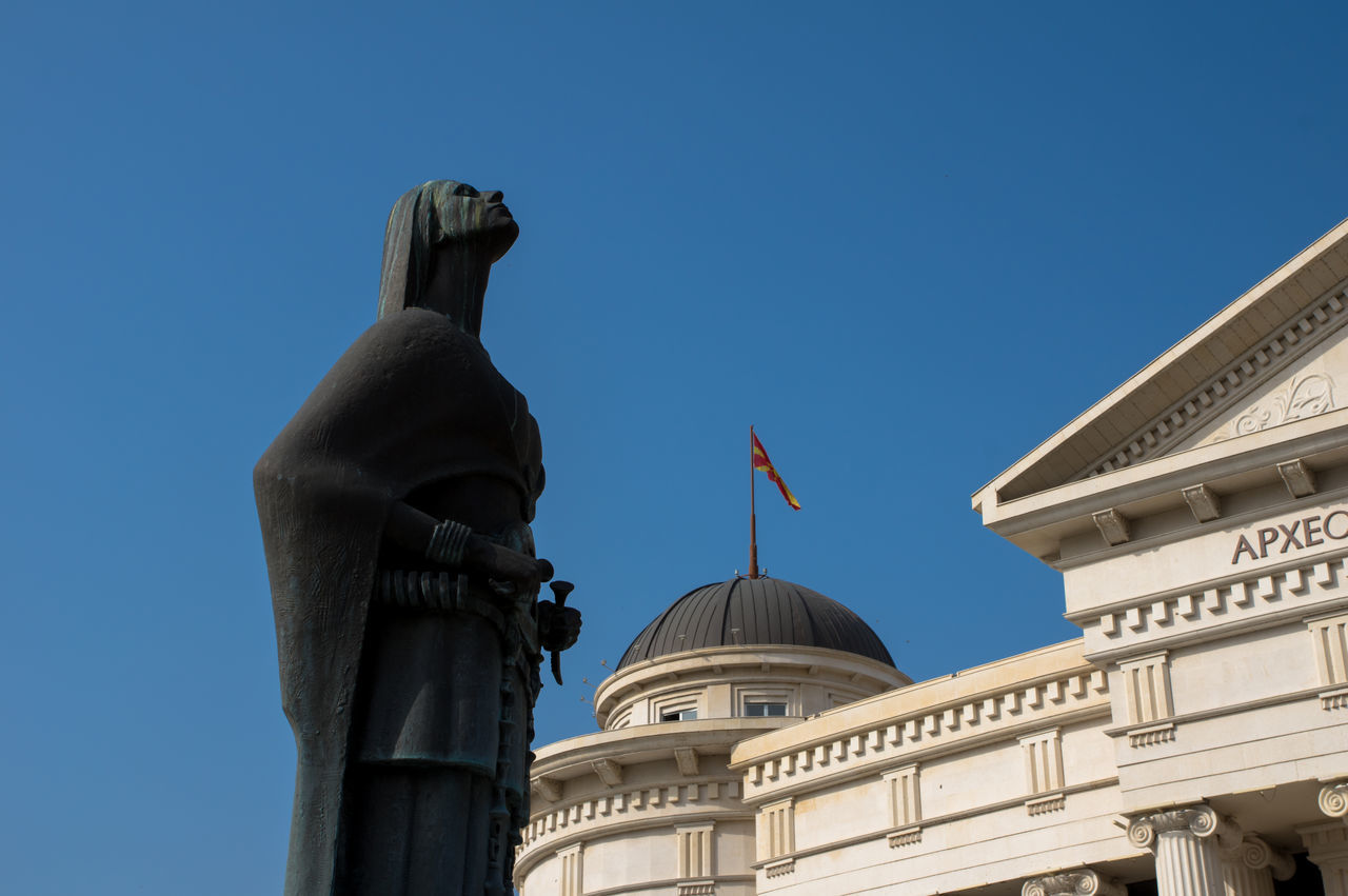 Just another statue Architecture Building Exterior Built Structure Clear Sky Day Dome EyeEm City Lover EyeEm City Shots EyeEm Gallery History Human Representation Low Angle View No People Outdoors Sculpture Skopje Sky Standing Statue Statue Travel Destinations