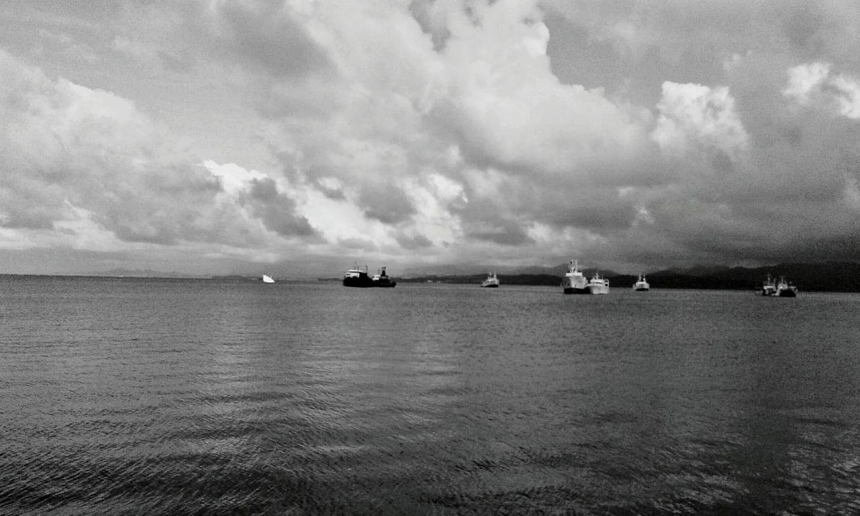 Monochrome Photography Water Sea Nautical Vessel Transportation Scenics Tranquil Scene Tranquility Cloud - Sky Sky Waterfront Ocean Cloud Cloudy Calm Mode Of Transport Beauty In Nature Seascape Nature Cloudscape Day Shekelsphotography The Week Of Eyeem The Week On EyeEem Horizon Over Water