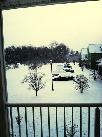 Outside by balcony door