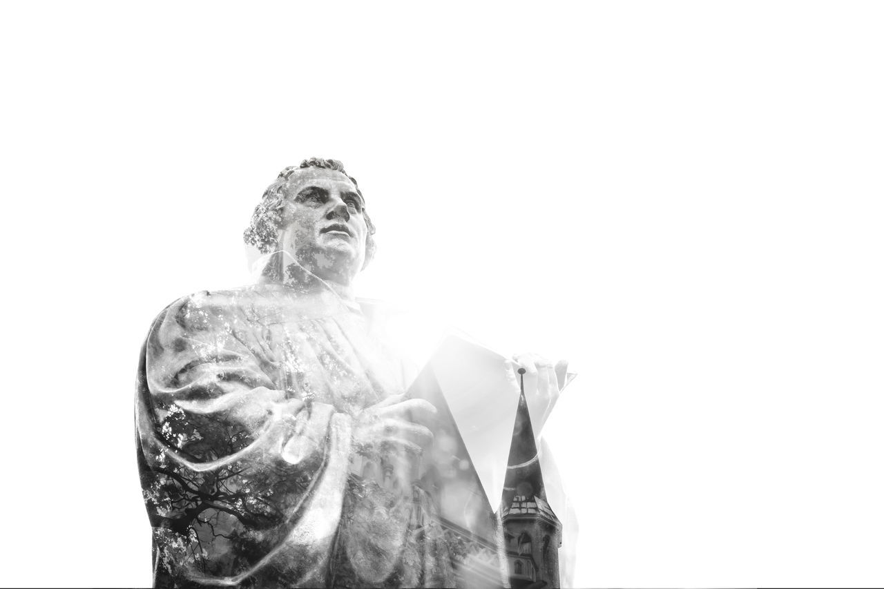 Statue of the Reformer Martin Luther in Erfurt Double exposure Double Exposure Erfurt Lutherdenkmal Lutherstadt Martin Luther Memorial Religion And Tradition Statue Anger Christ Doubleexposure Erfurtcity Germany Landmark Luther Lutheran Lutherjahr2017 One Person Portrait Reformation Reformation Day Religion Religion And Beliefs Sculpture Summer