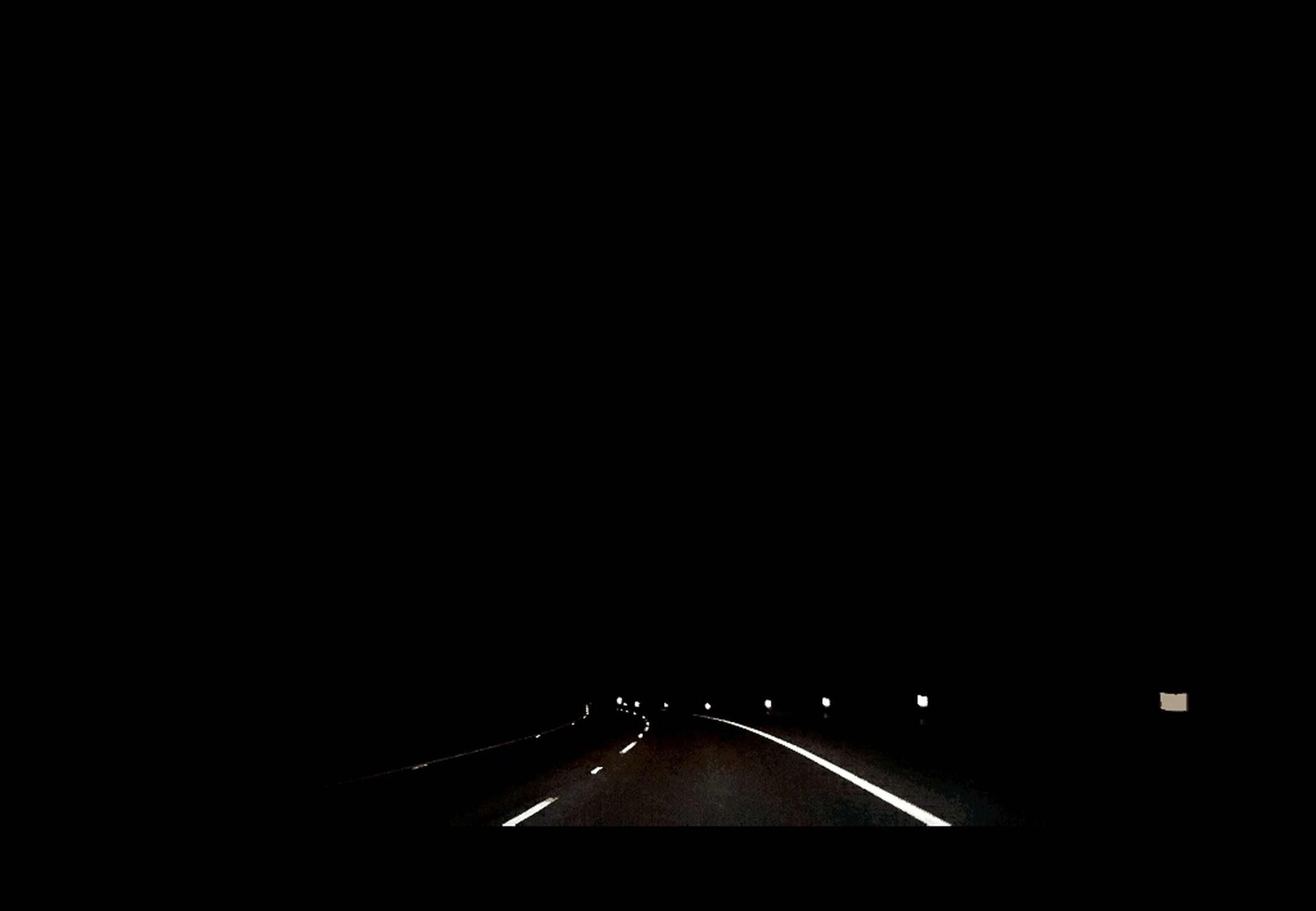 copy space, transportation, road, the way forward, illuminated, night, road marking, diminishing perspective, car, vanishing point, dark, car point of view, tail light