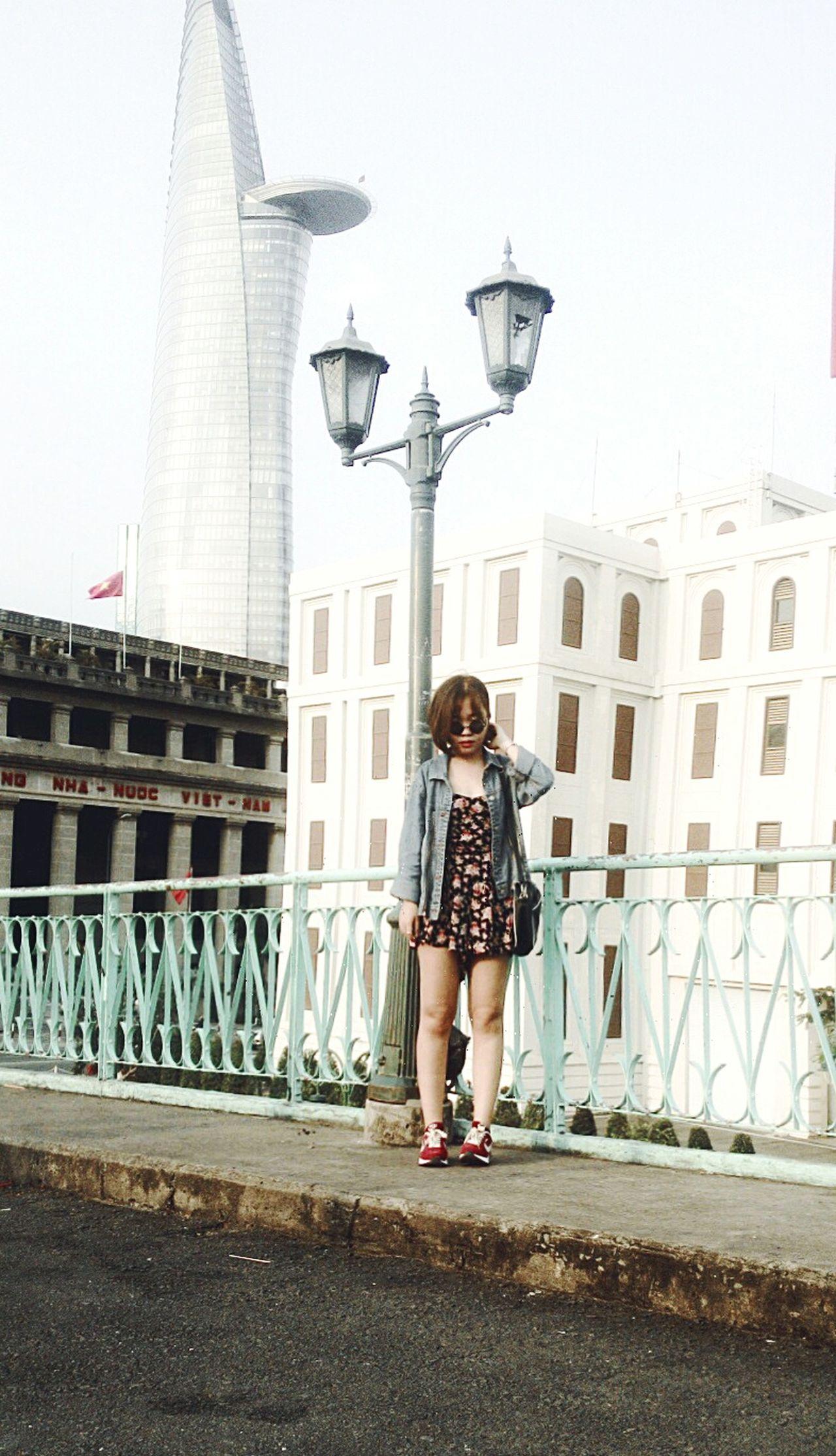 Saigon Bitexco Street Style Lookbookfashion Denim Short Hair Nike Air Max Jumpsuit Sunglasses