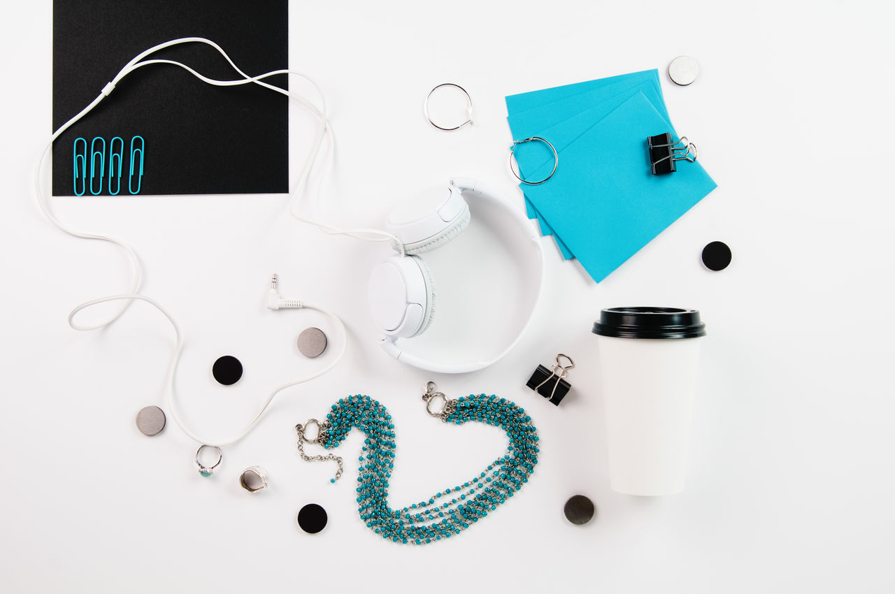 Styled Stock Desktop Of Office Accessories With Teal Accents Aqua Business  Coffee Cup Desktop Layflat Office