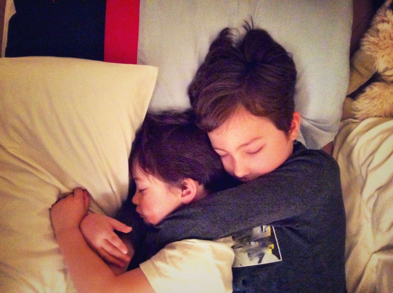 Brothers cuddling in bed. Togetherness Love Two People Bonding Sleeping Real People Lying Down Bed Embracing Relaxation Hugging Brothers Young Children Family Togethernes Asleep Brown Hair Young Cuddle Cuddles Cuddling Hugging