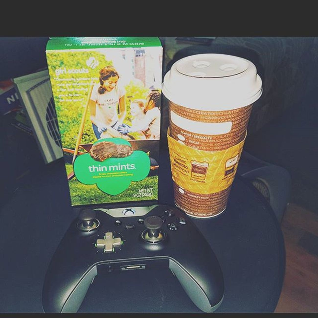 My kind of weekend...... 😎 XboxOne CallOfDuty Capturetheflag Coffee Macchiato Thinmints Girlscoutcookies Xboxelitecontroller Videogames Dunkindonuts Cookies