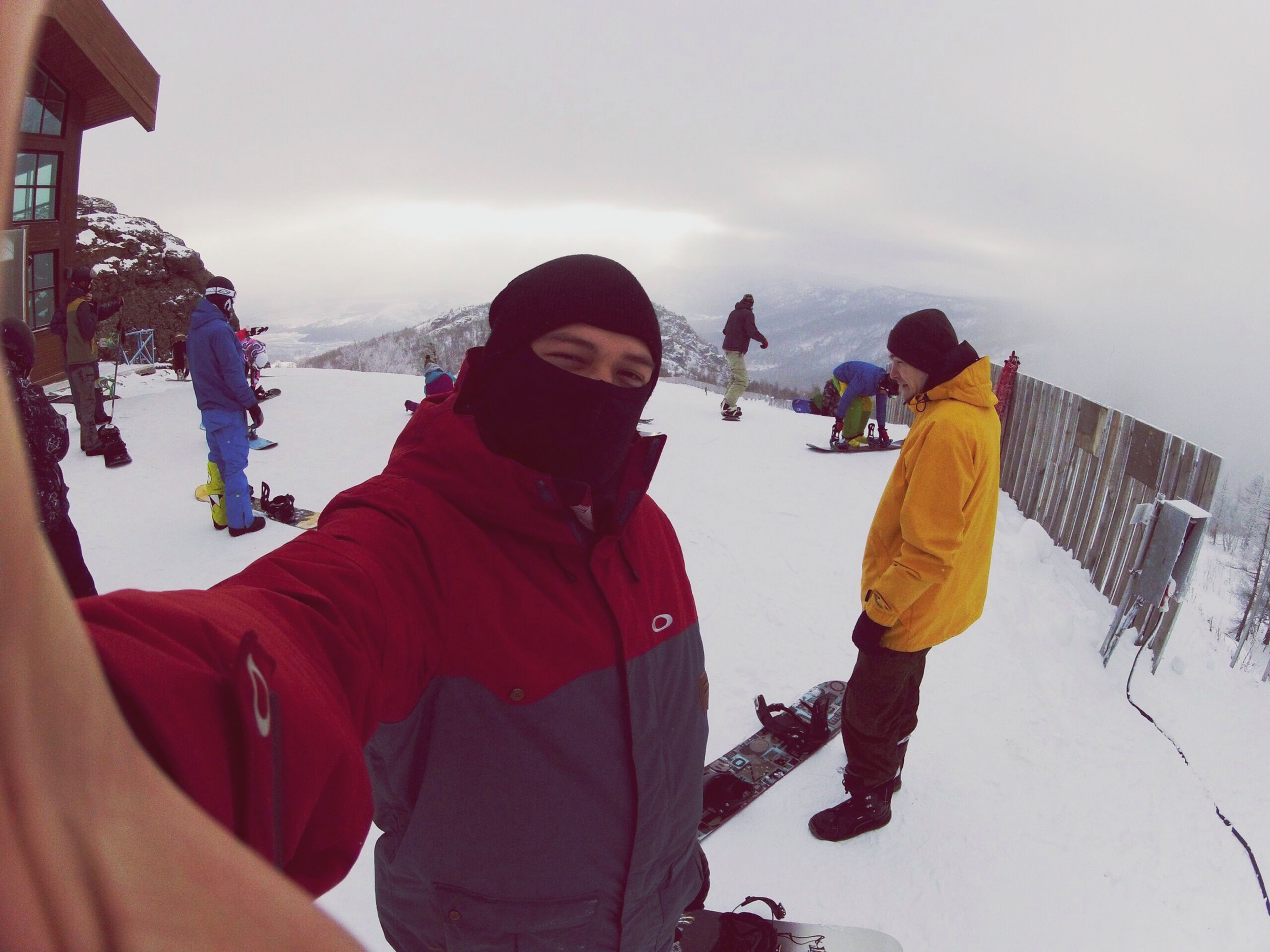 lifestyles, togetherness, leisure activity, casual clothing, bonding, winter, warm clothing, love, standing, cold temperature, rear view, men, snow, sky, season, full length, three quarter length, boys