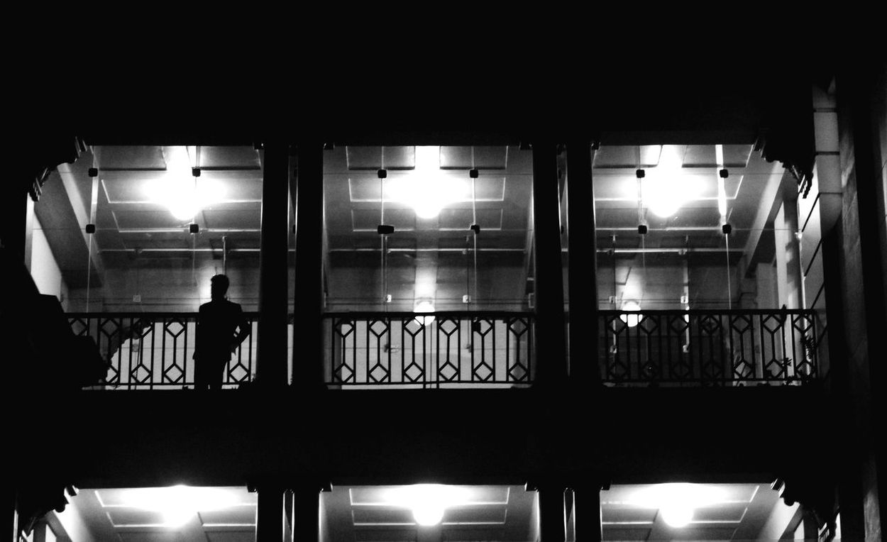 The Architect - 2017 EyeEm Awards Indoors  Night EyeEm Gallery Canon Rebel T3 Porto Alegre Black & White One People Sillouette Man Glass Shadows & Lights Place Of Heart