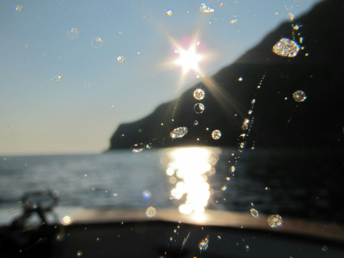 Sea Water Coastline Cruising Water On Lens Sun Flare Italy Scenics Tranquility Blurry But Beautiful