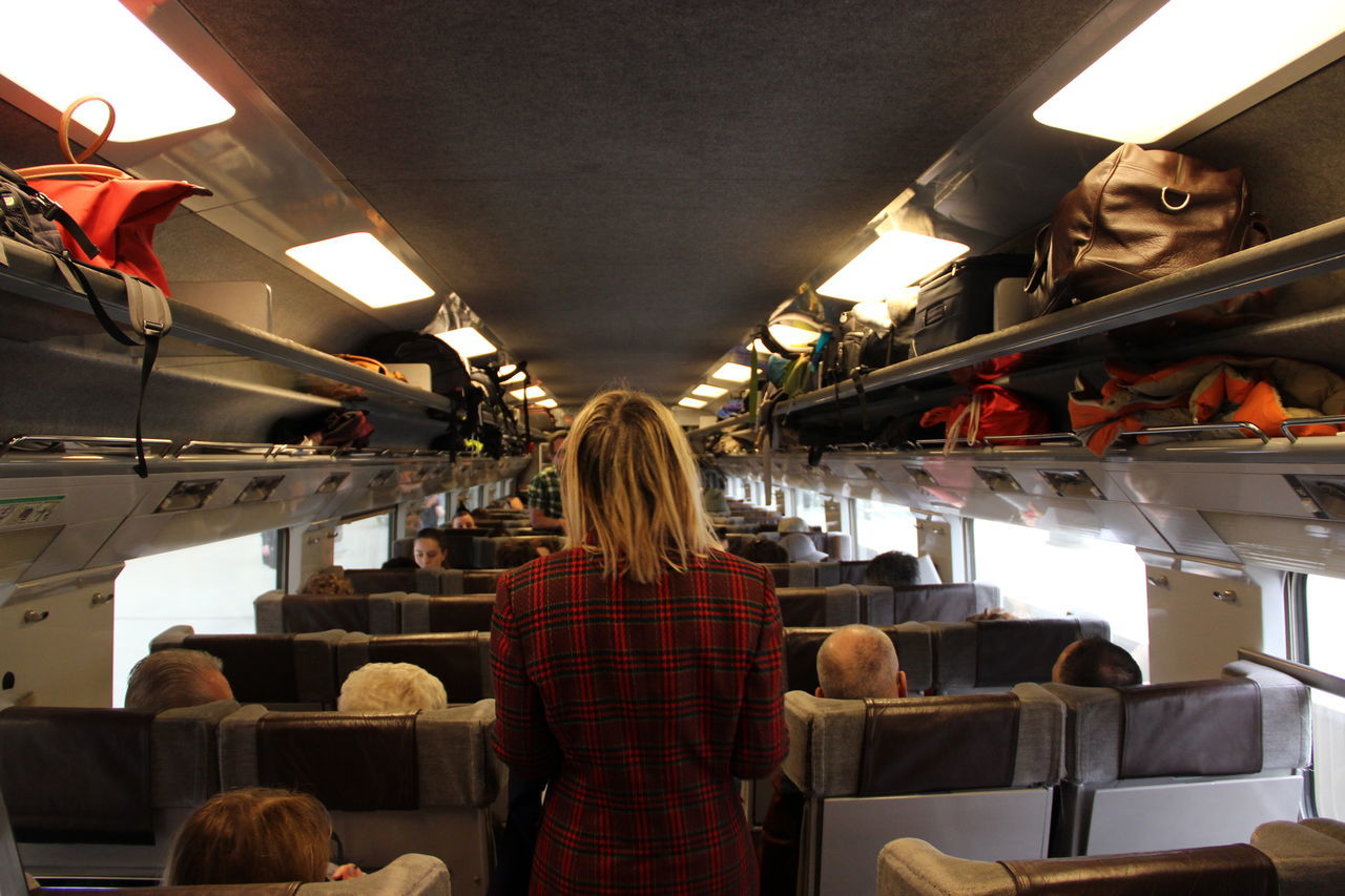 Girl on a trip Back Backgrounds Blond Dark Day Girl Indoors  Lifestyles Men One Person Plaid Railing Railway Real People Rear View Standing Starting A Trip Train Travel Travel Destinations Traveling Trip Trip Photo Vacation Women