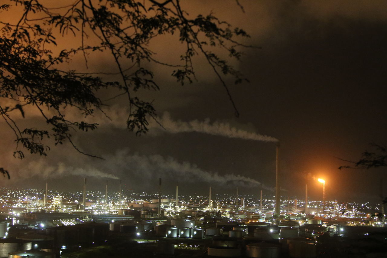 Architecture Building Exterior Built Structure City Factory Global Warming Illuminated Industry Night No People Outdoors Poison Pollution Refinery Sky Tree